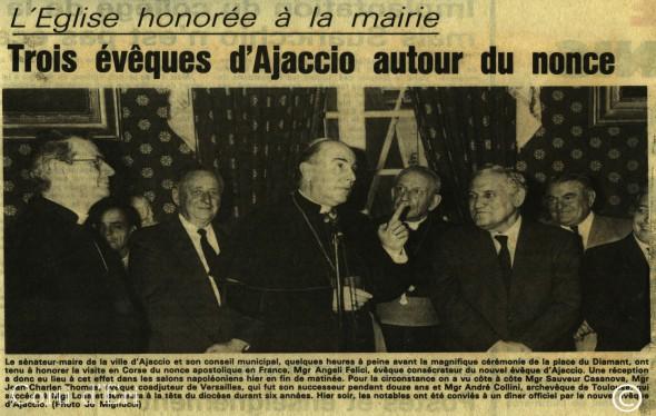 l'Eglise honorée à la mairie - Trois évêques d'Ajaccio autour du nonce (Copier)