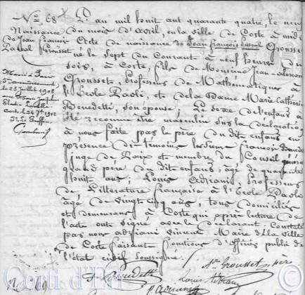 Acte naissance P Grousset 1844 Corte