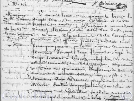 Mariage GROUSSET Jean Alexandre x BENEDETTI Marie Catherine 26-04-1843 Corte (p 36) (1)